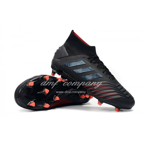 Adidas Predator 19+FG Black And Red Stripes Men