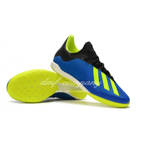 Adidas Men's X Tango 18.3 IC Blue Fluorescent Green And Black
