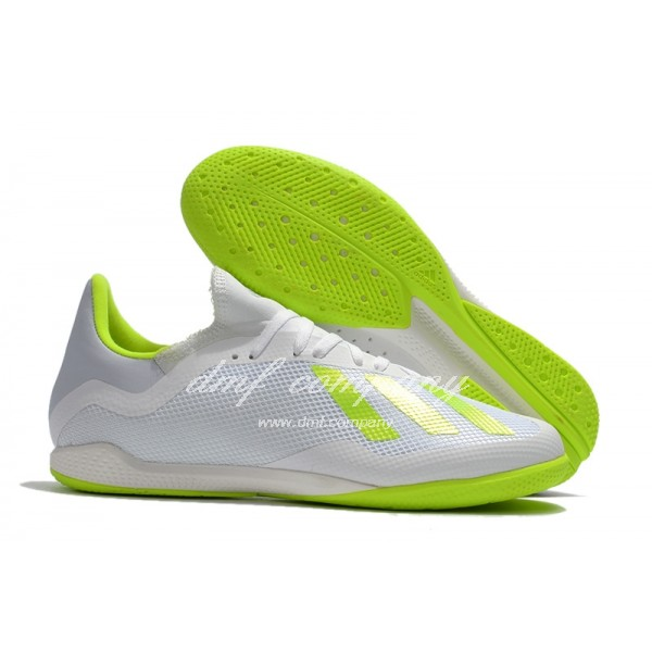 Adidas Men's X Tango 18.3 IC White And Fluorescent Green