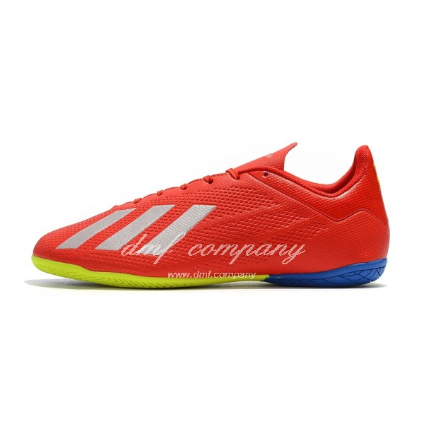 Adidas X Tango 18.4 IC Men's Red Silver Upper And Fluorescent Yellow Blue Sole