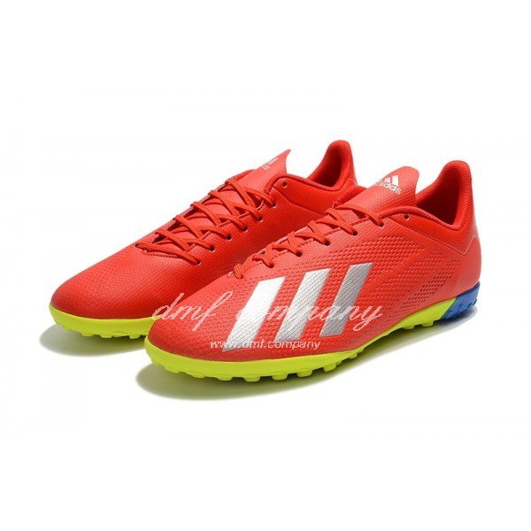 Adidas X Tango 18.4 TF Men's Red Silver Upper And Fluorescent Green Sole