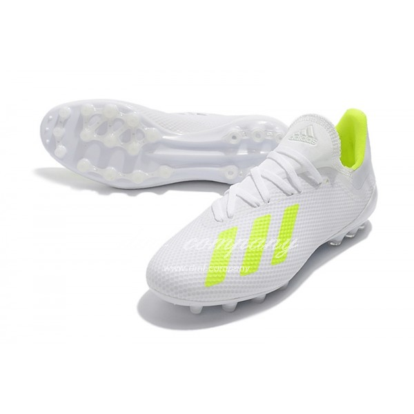 Adidas Men's X 18.1 AG White And Fluorescent Green